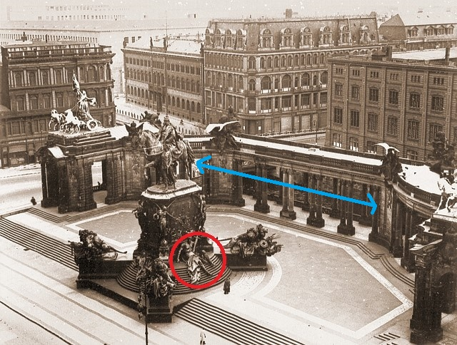 The National Monument to Kaiser Wilhelm circa 1900.  Source unknown. Red circle indicated the figure Richard posed with, and the blue line shows the river behind the monument.