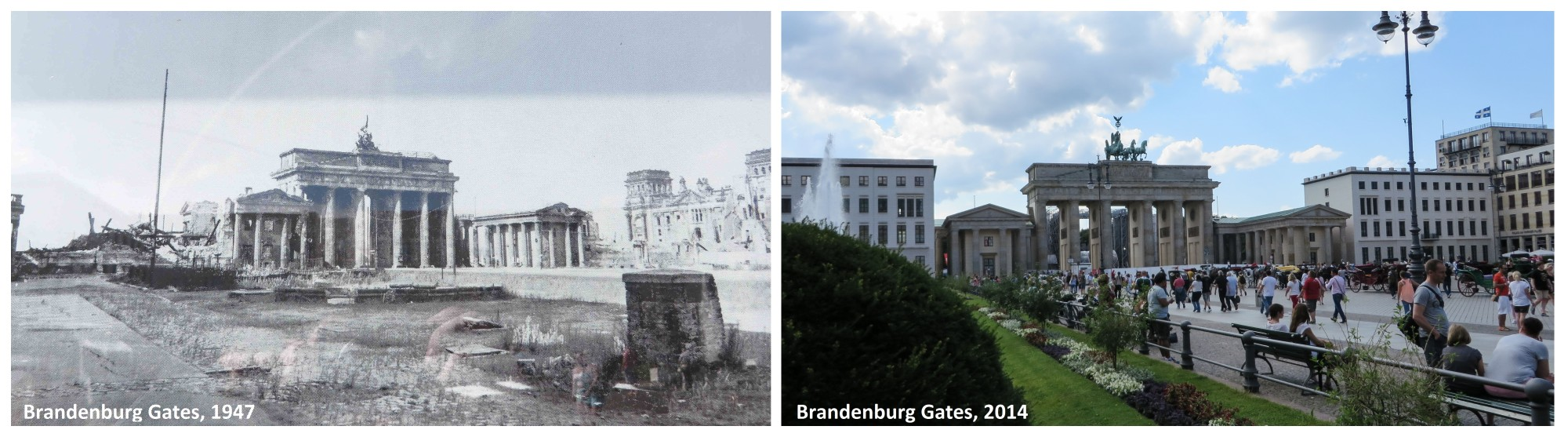 Brandenburg Gate post-WWII and today