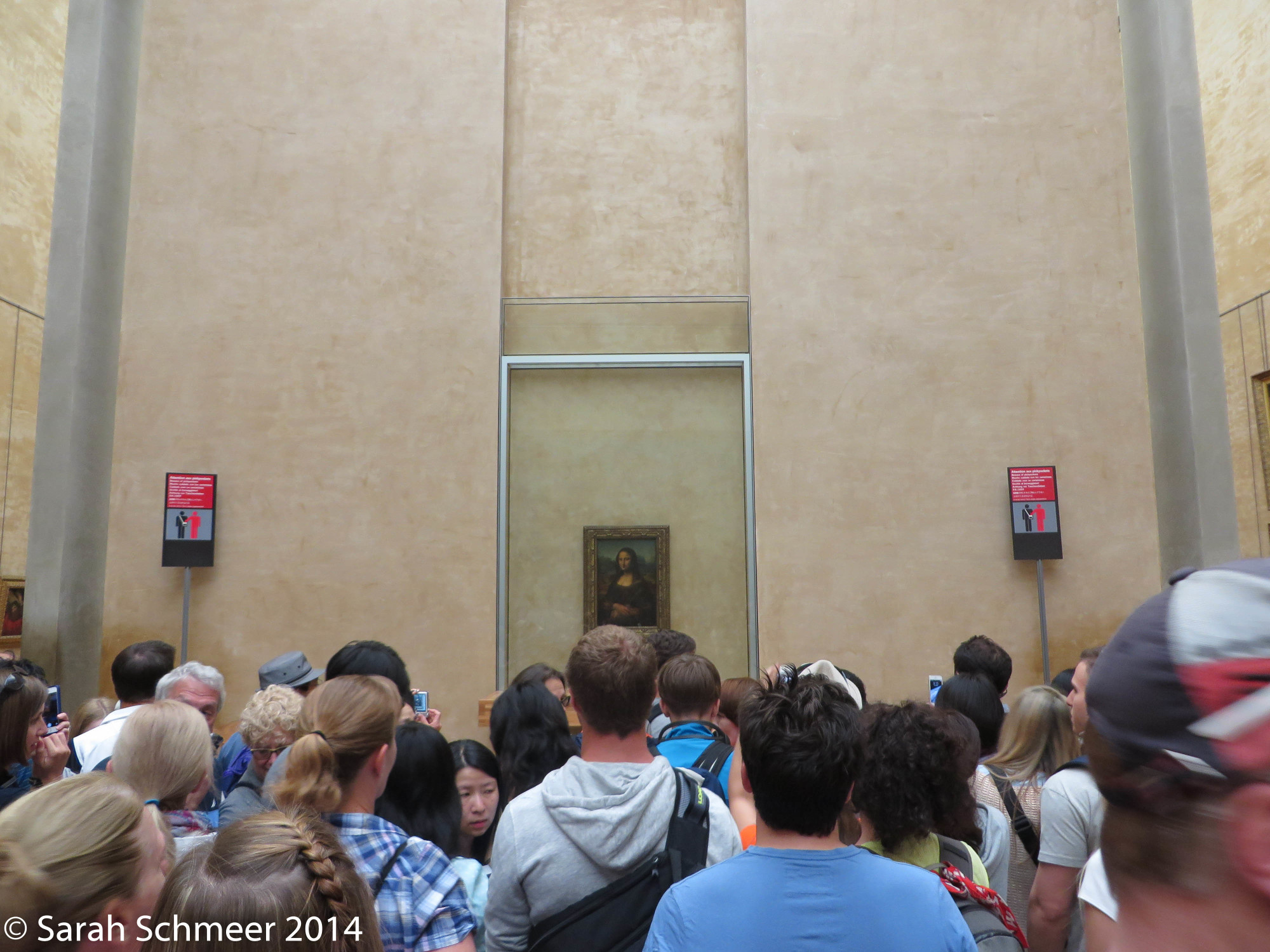 The delicate Mona Lisa safely concealed behind bullet-proof glass and a wall of tourists.