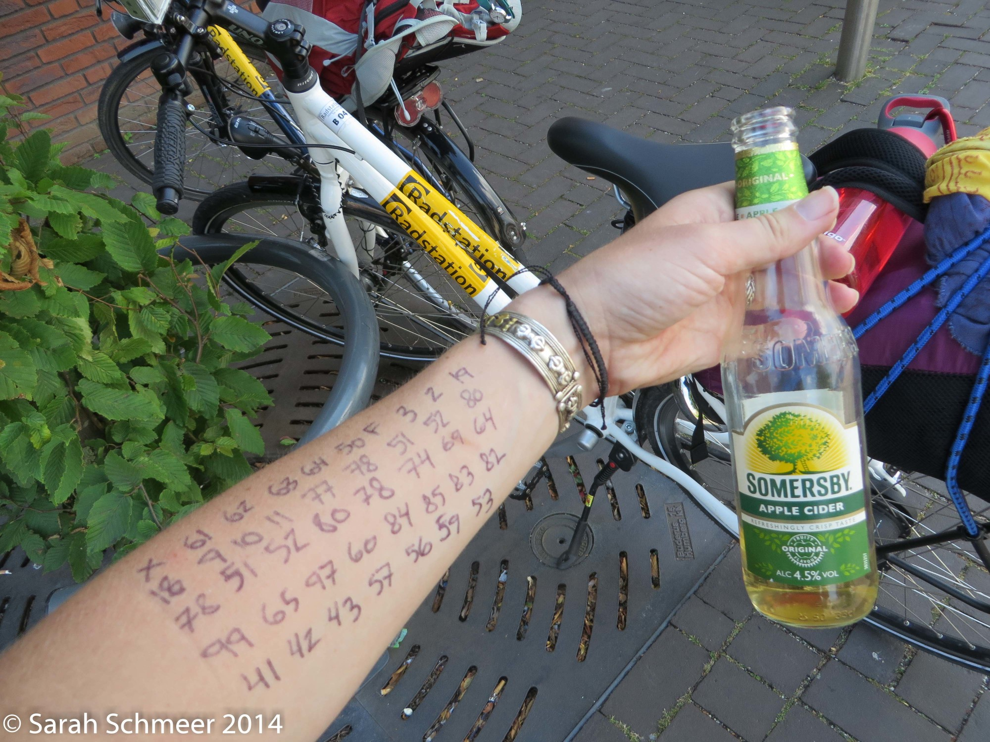 Numerical directions from Rotterdam to 's-Hertgenbosch (picture taken during a lunch break, hence the cider!)
