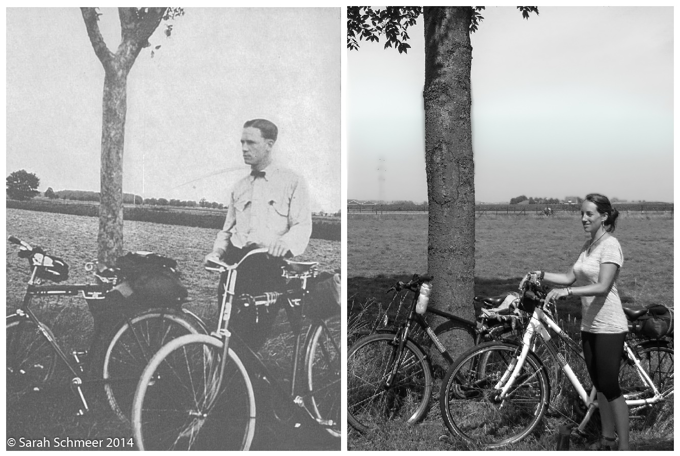 Comparison of a photo of Richard Halliburton in the Netherlands in 1921 and Sarah in the Netherlands in 2014.
