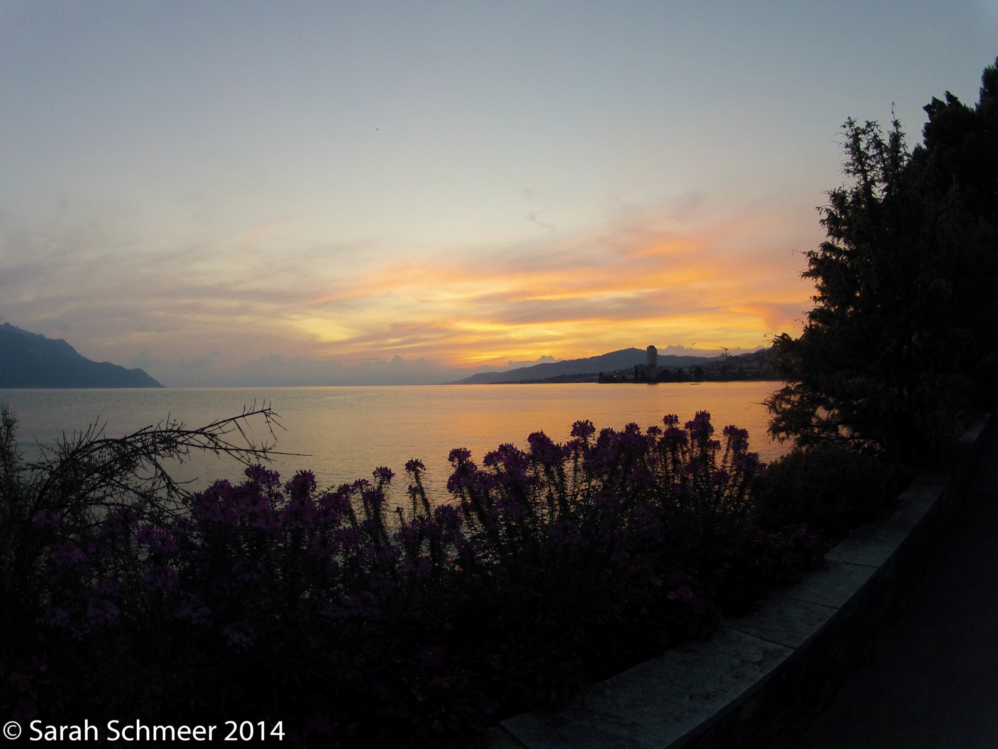 Sunset over Lac Leman and Montreux