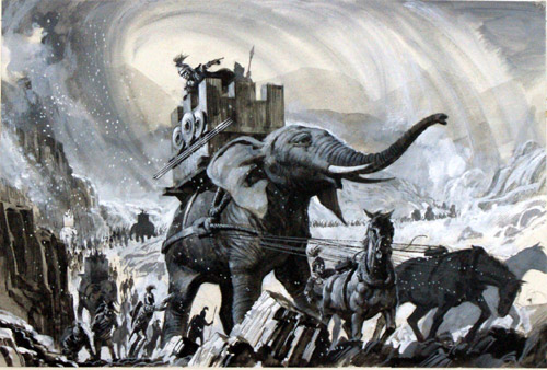 Depiction of Hannibal's crossing of the Alps in 218 BC