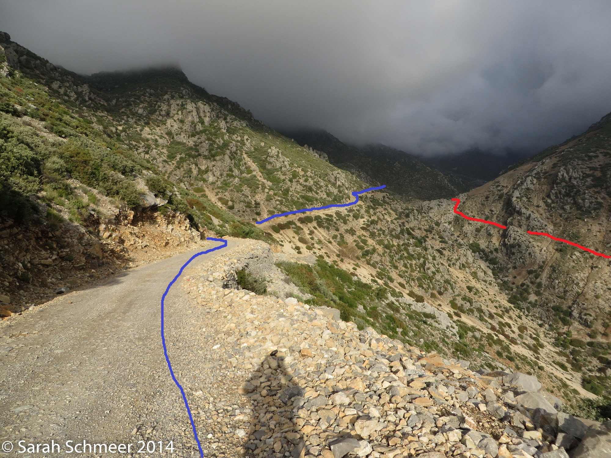 Follow the dirt road along the hillside. The red line shows the steepcut heading up the valley to meet the normal route.
