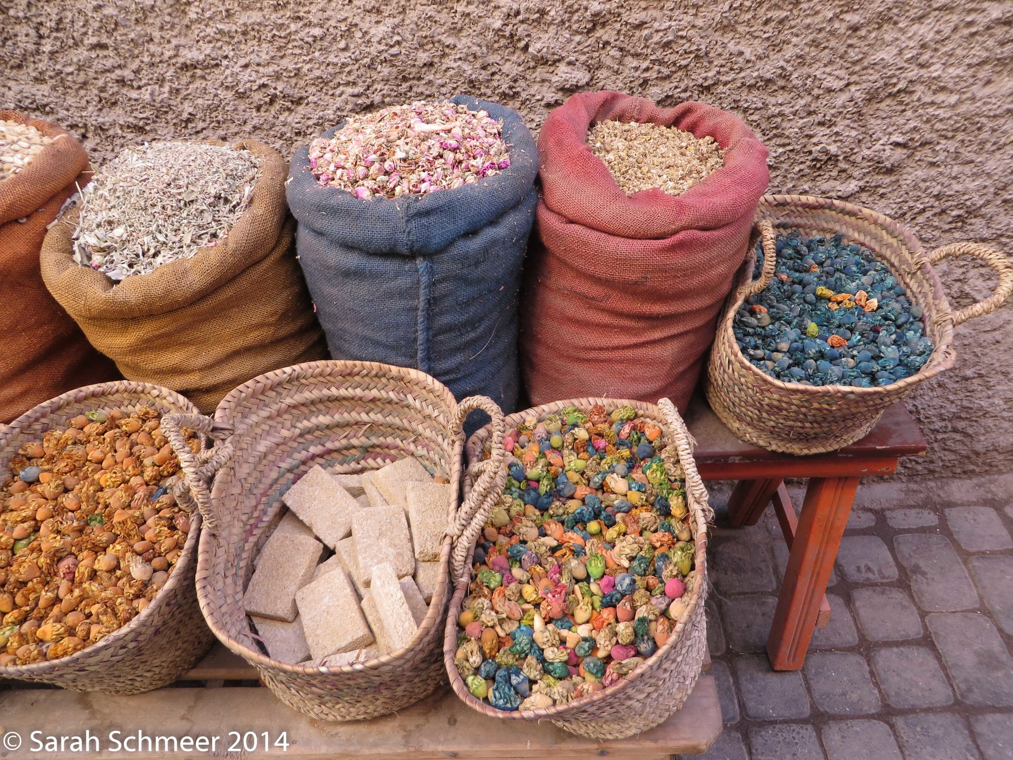 Colorful goods for sale in Morocco