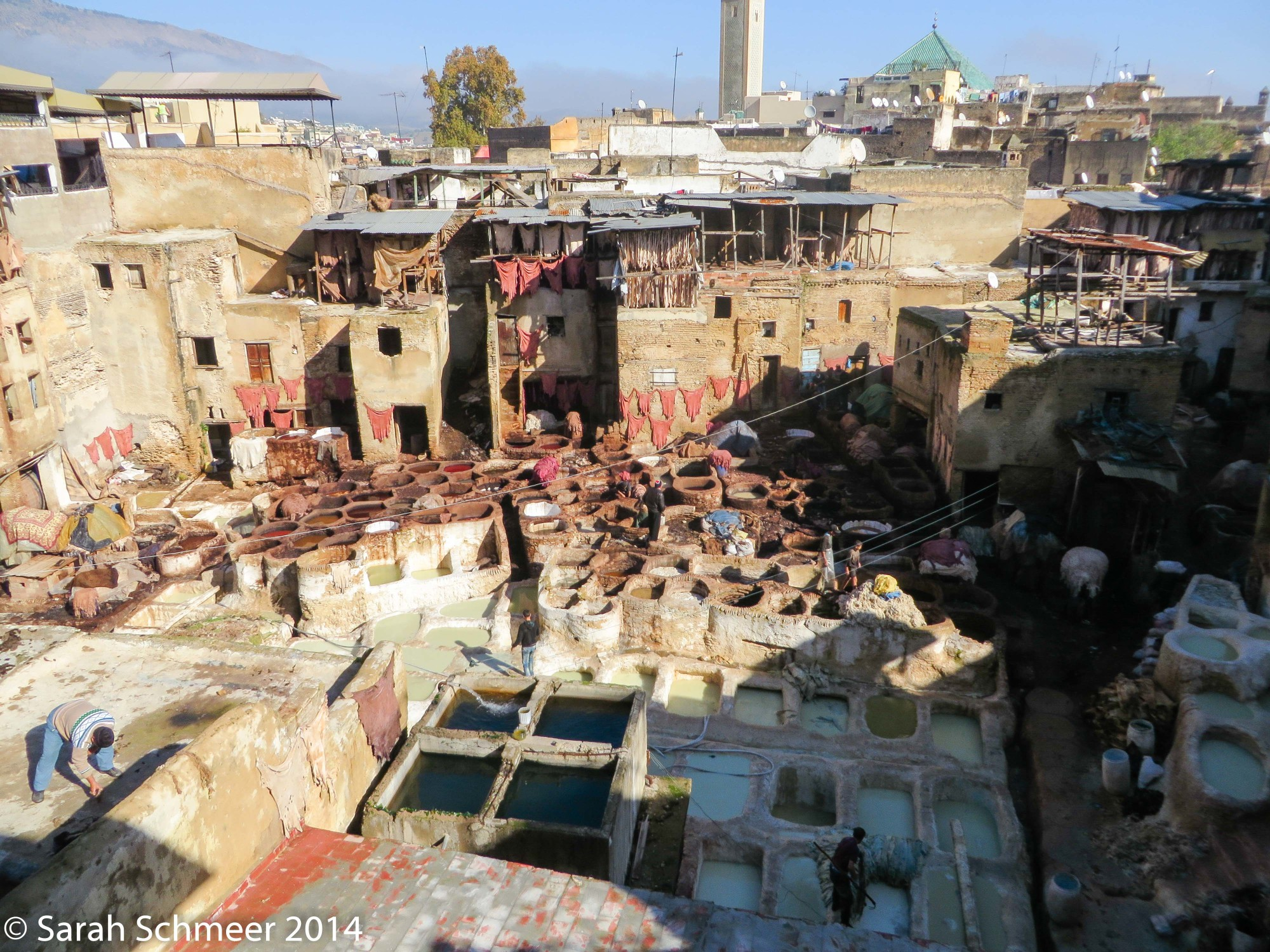 The famous and ancient open-air tanneries of Fes, Morocco