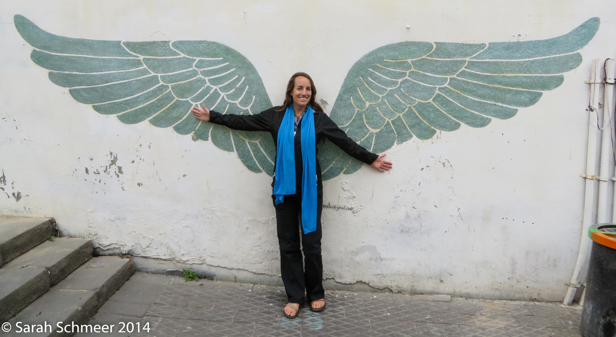 Sporting some angel wings in Tel Aviv