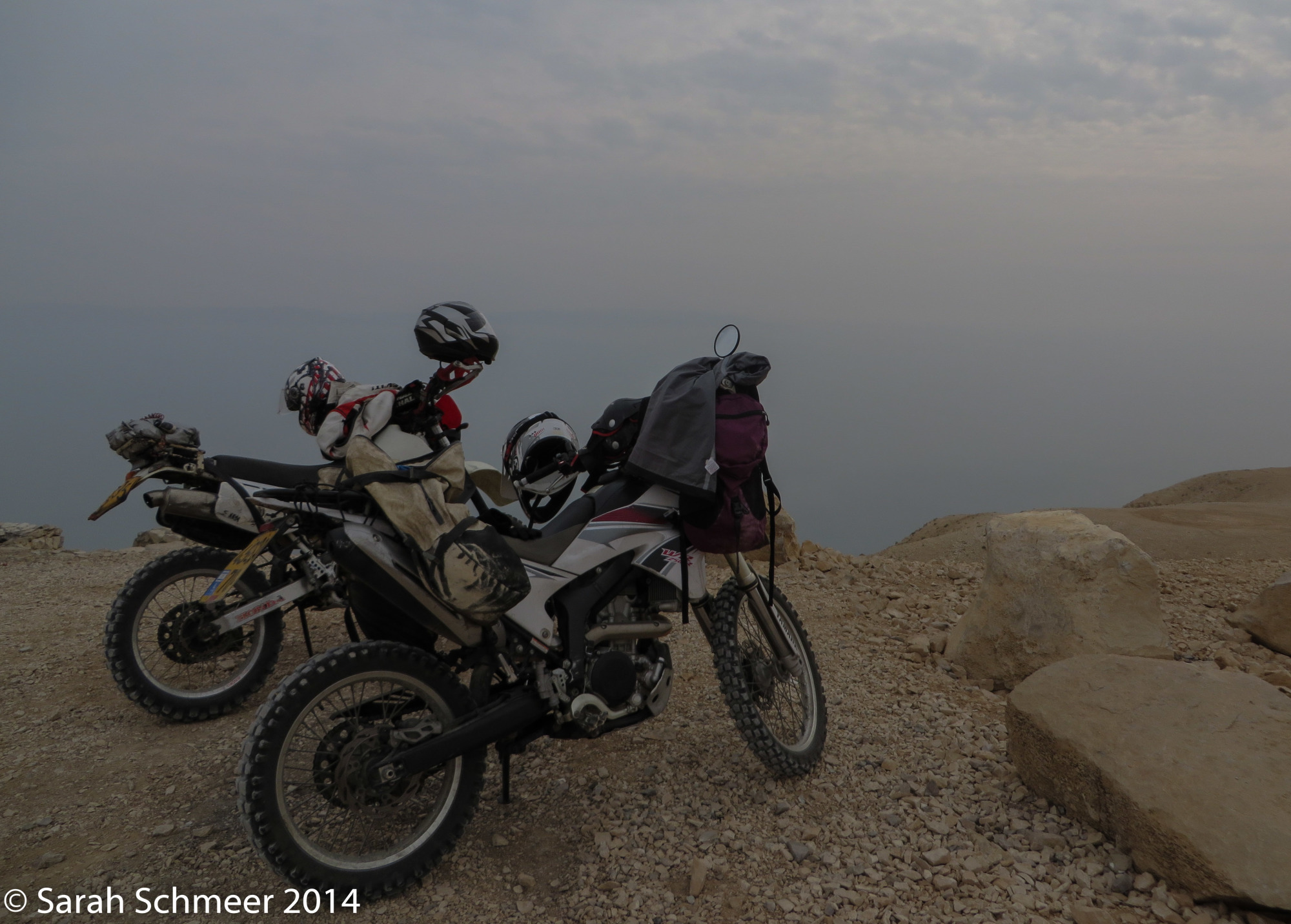 Parked the bikes at an overlook of the Dead Sea