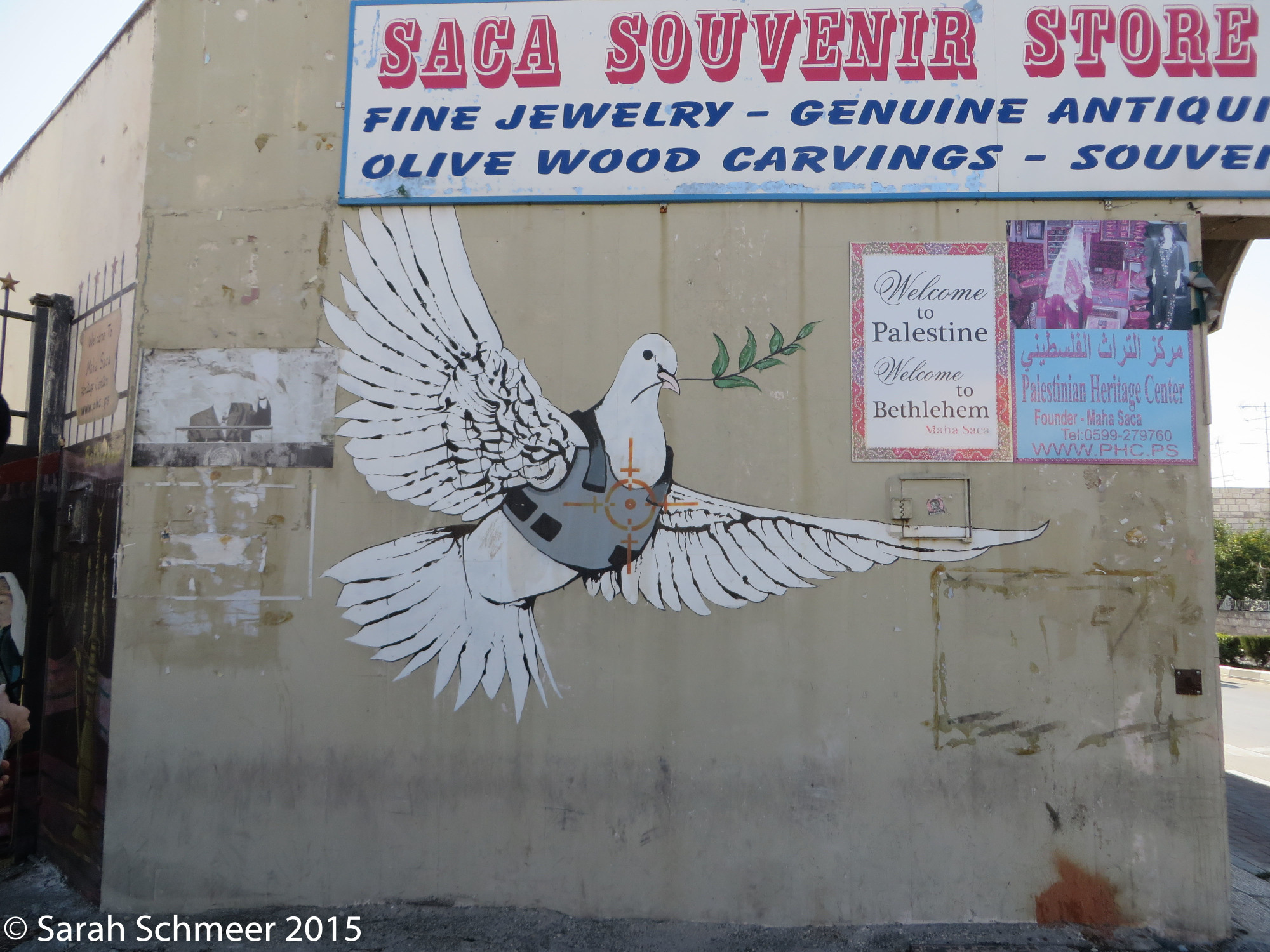 "Banksy's ""Armored Dove"" in Bethlehem"
