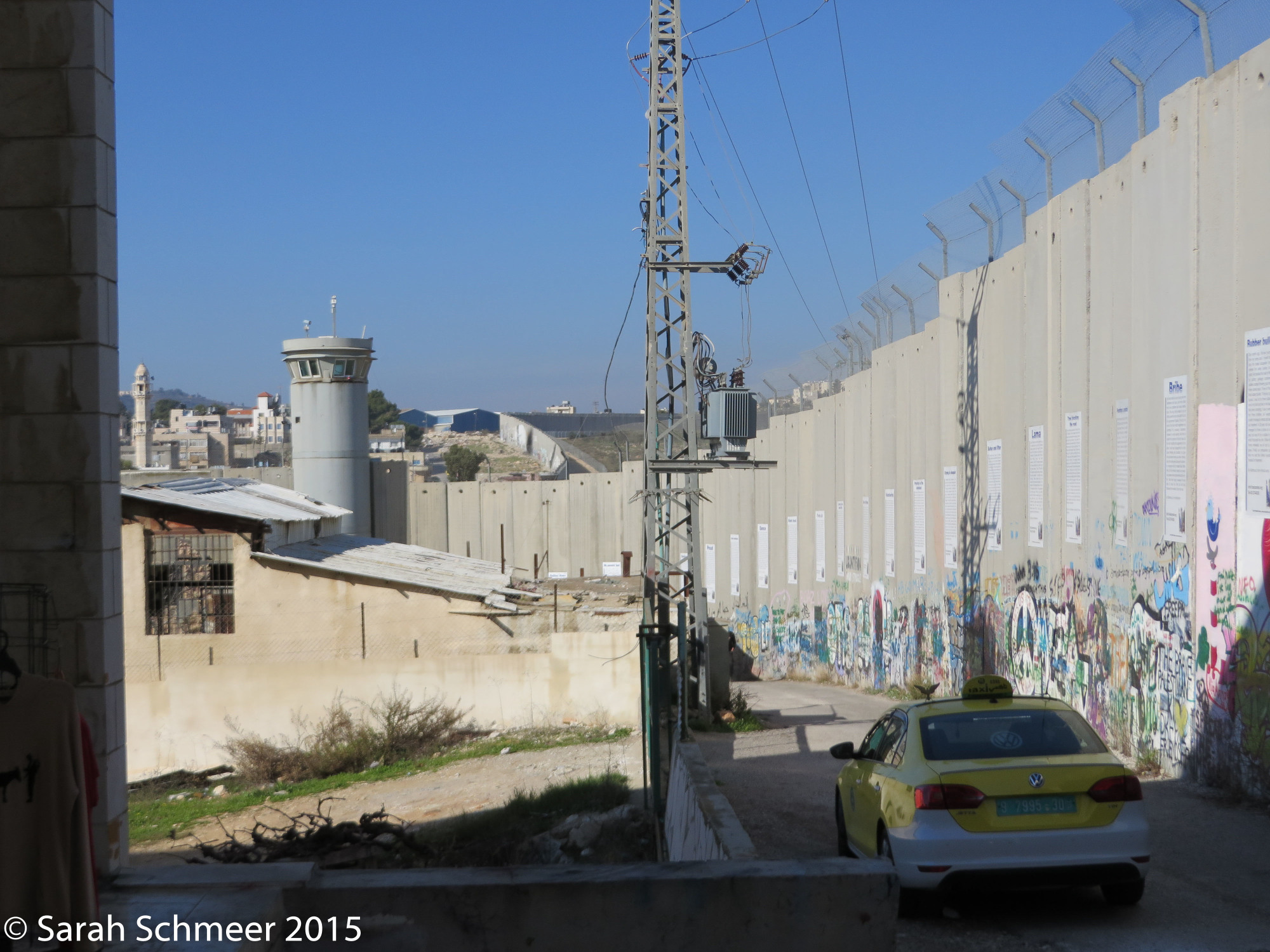 Separation Wall in Bethlehem.  Banksy Store is on the left, just out of the picture.