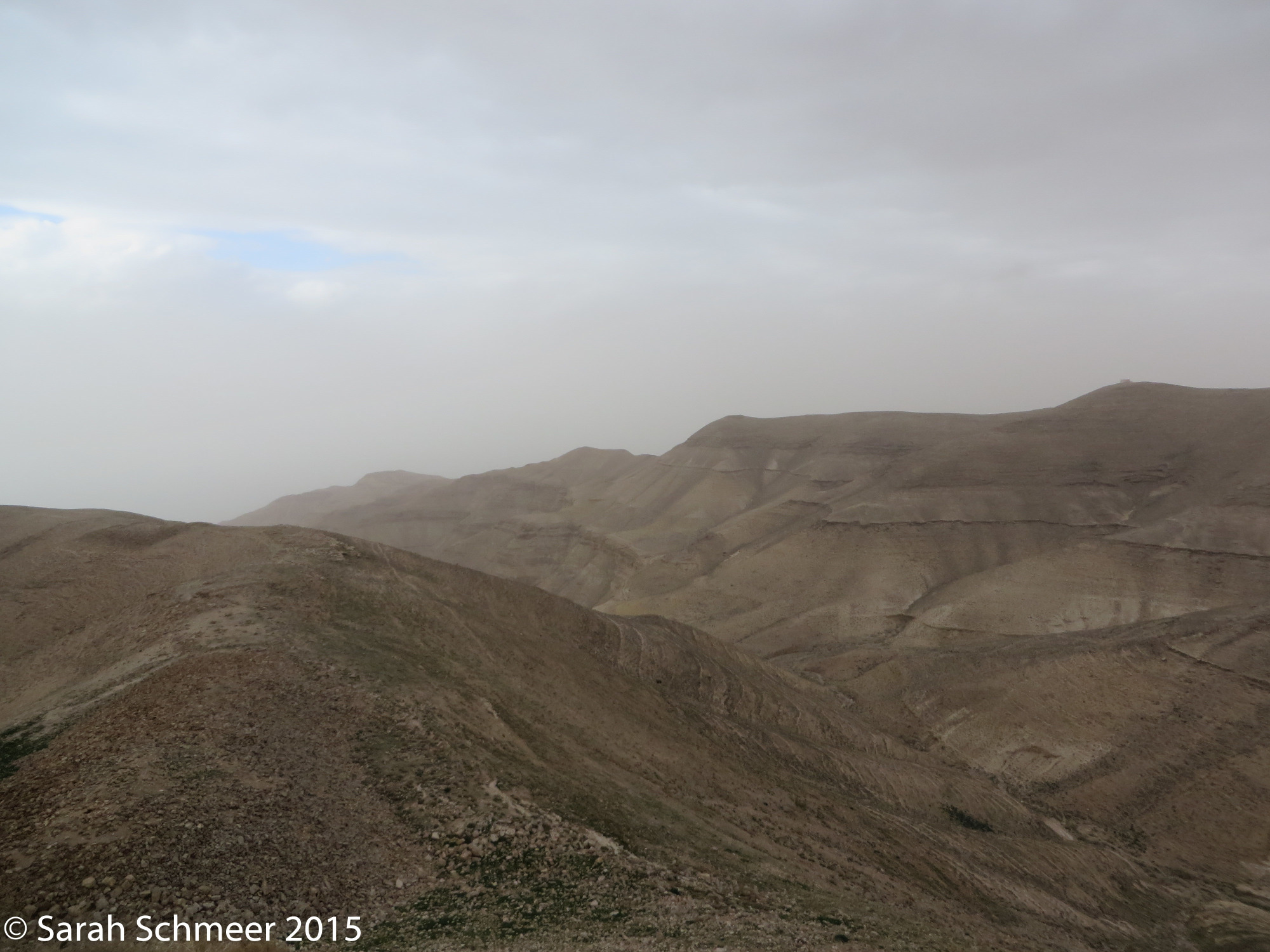 The desolate view toward the Dead Sea from Mukawir.