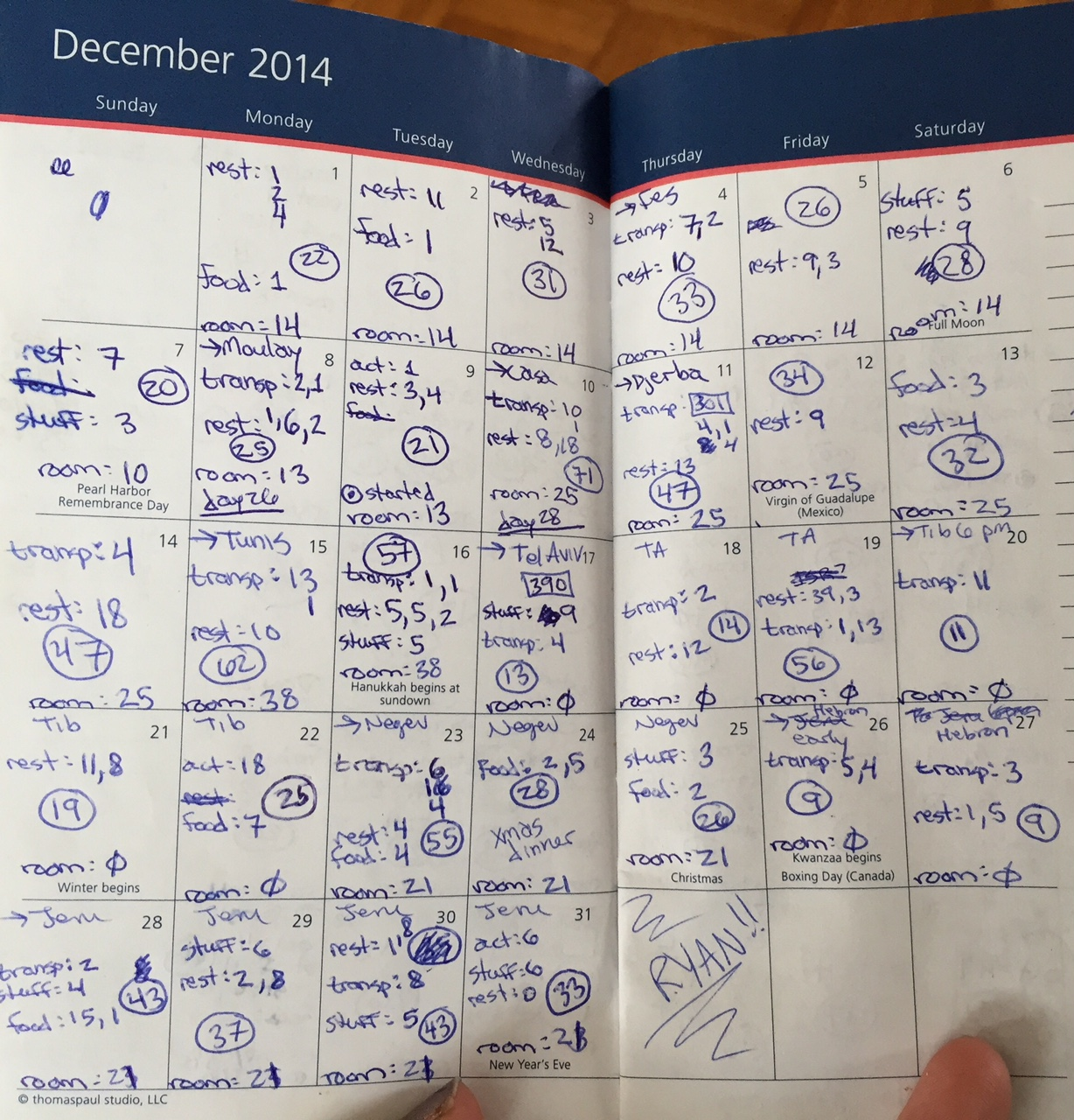 The calendar I use to [obsessively] keep track of my daily expenses while traveling.