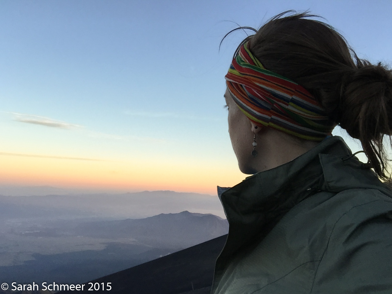 Gazing out over the sea of clouds at sunset from my campsite halfway up Fuji's Gotemba trail.