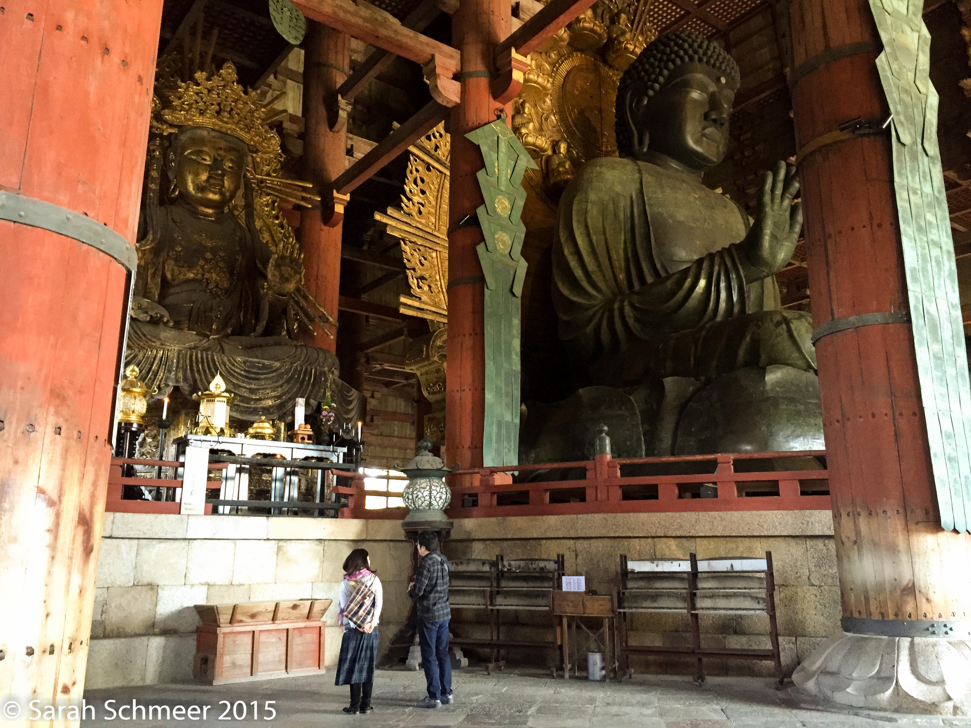 The Daibutsu in Nara, Japan, with some tiny mortals for scale.