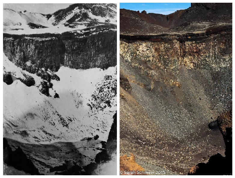 Fuji's crater in February 1923 versus October 2015. View of both is from where the Gotemba Trail joins the crater rim.