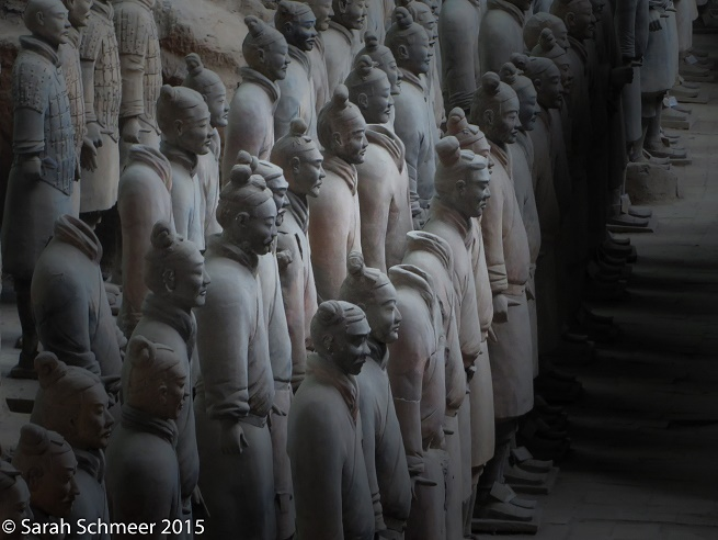 The sculpted terracotta faces of ancient warriors. [Xi'an, China]