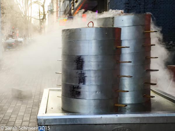 Dumplings pour steam onto a sub-zero street in Harbin.