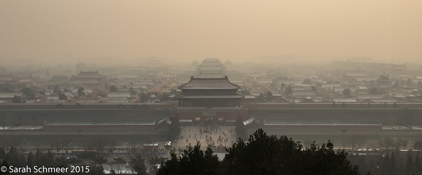 No, that's not fog. A smoggy day overlooking the Forbidden City. [Beijing, China]